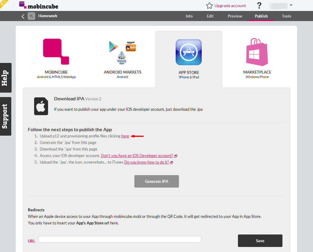 Publish App In App Store Under your own developer license – Mobincube