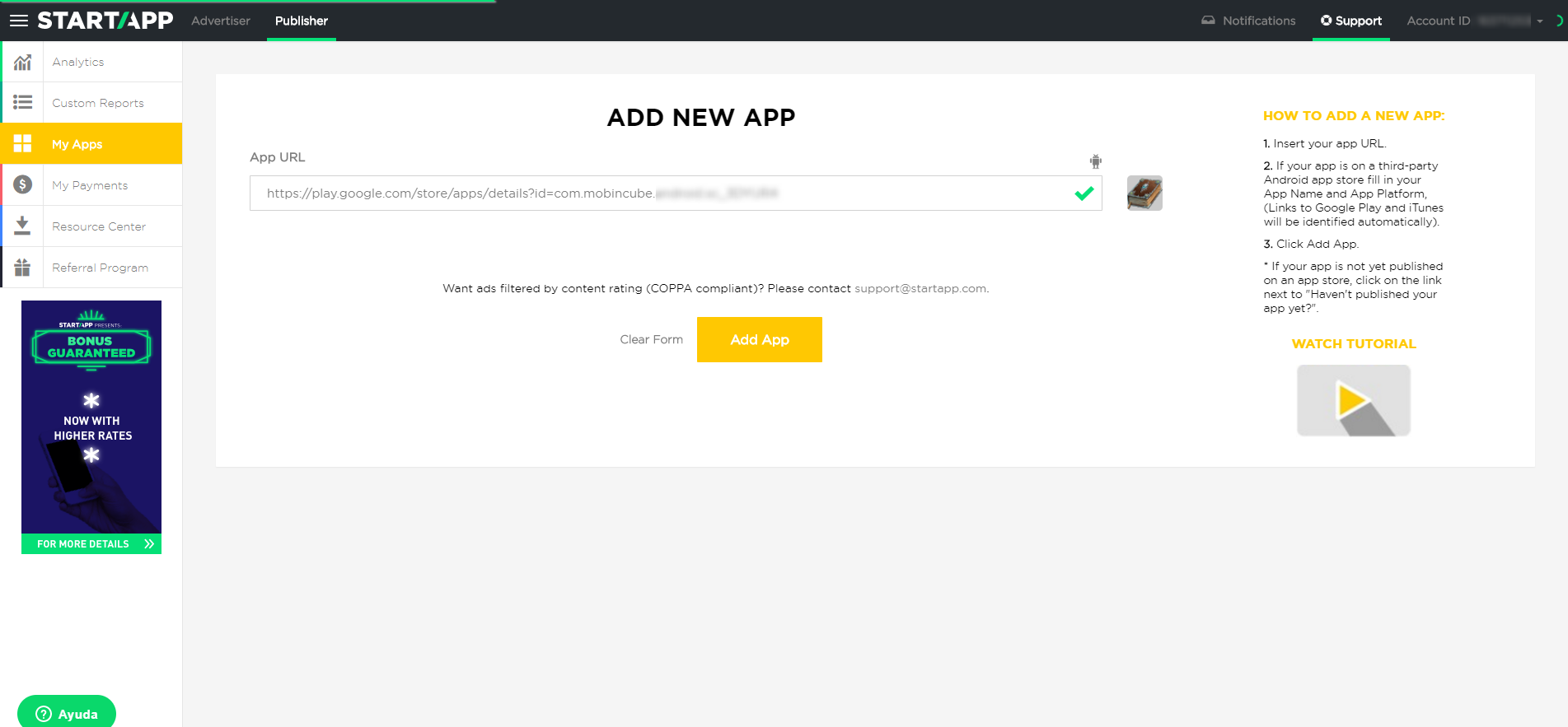 Generate Startapp codes – Mobincube