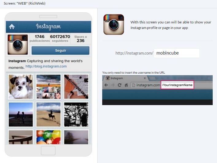 Screens type WEB – Mobincube
